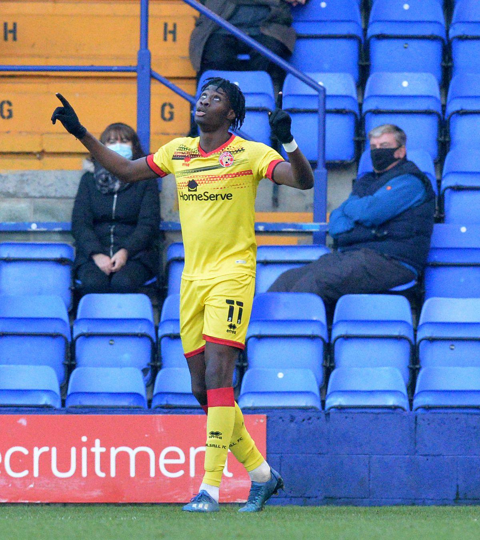Elijah Adebayo celebrates his goal.