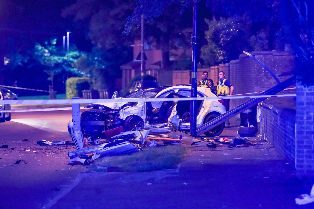 The aftermath of the crash in Woodgate Lane, Birmingham. Photo: SnapperSK