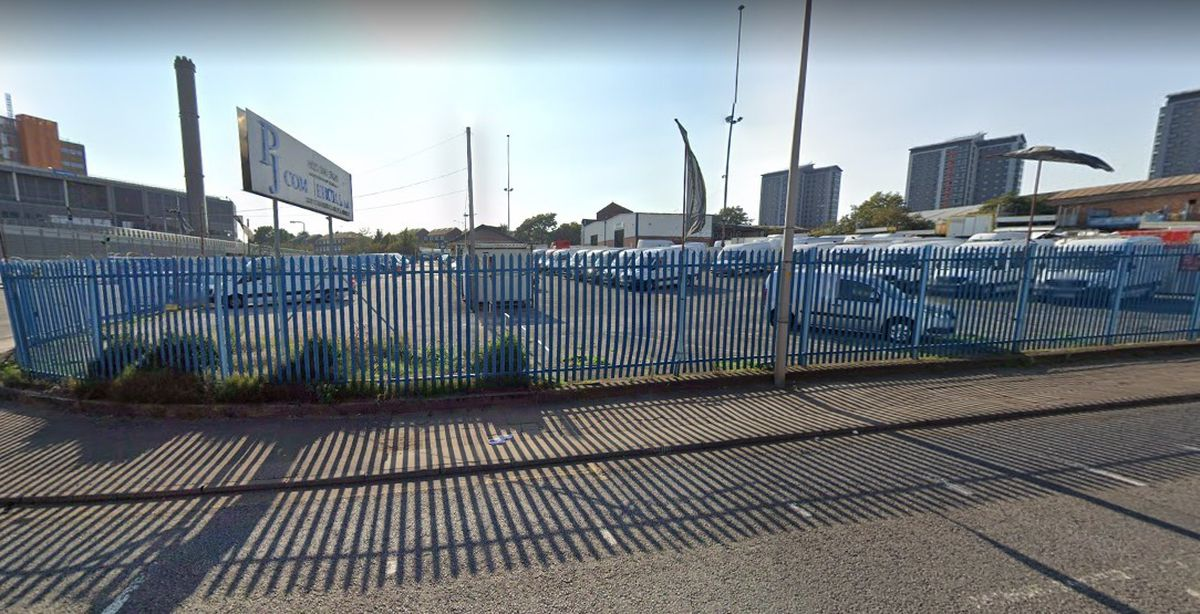 The site earmarked for a huge multi-storey car park and residential and commercial development in London Street, Smethwick. Photo: Google
