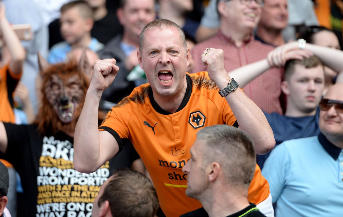 A fan celebrates Wolves' comfortable win over Bolton