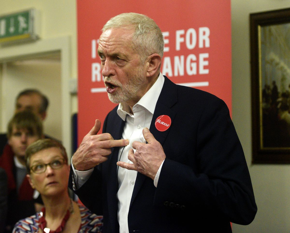 Labour leader Jeremy Corbyn addresses supporters at the Upper Gornal Pensioners Club