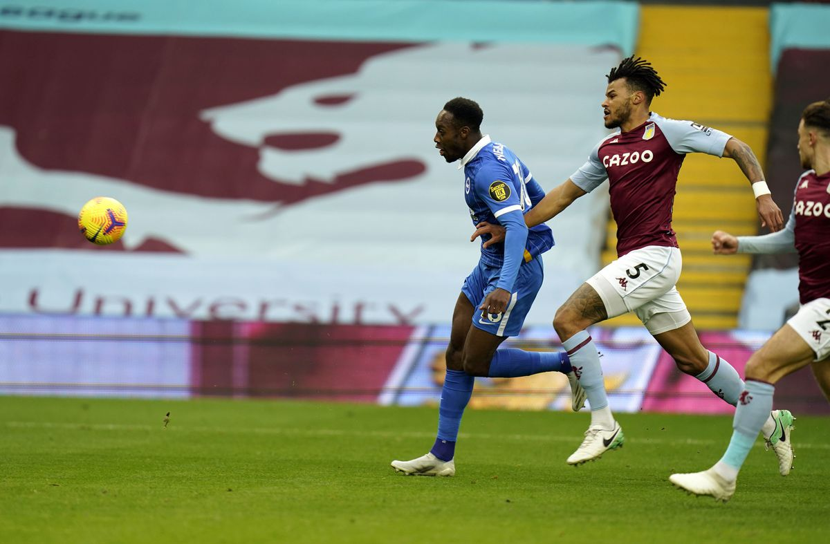 Brighton and Hove Albion's Danny Welbeck scores the opening goal