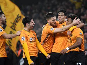 Raul Jimenez of Wolverhampton Wanderers celebrates after scoring a goal to make it 1-1