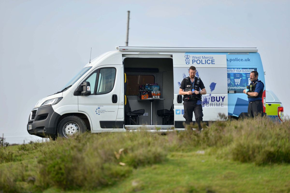 Investigators at the top of Brown Clee Hill