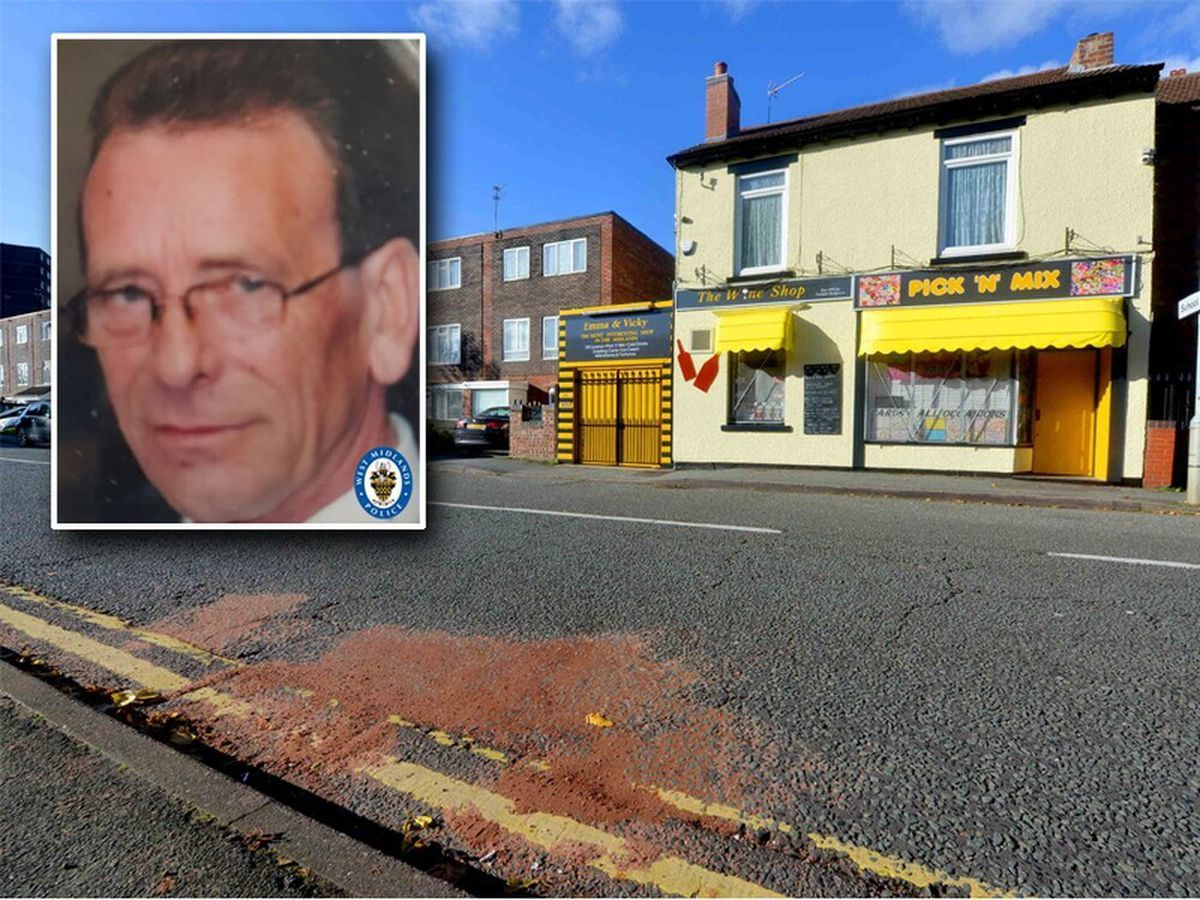 Peter Salter, inset, died after being struck by a car near The Wine Shop in Evans Street