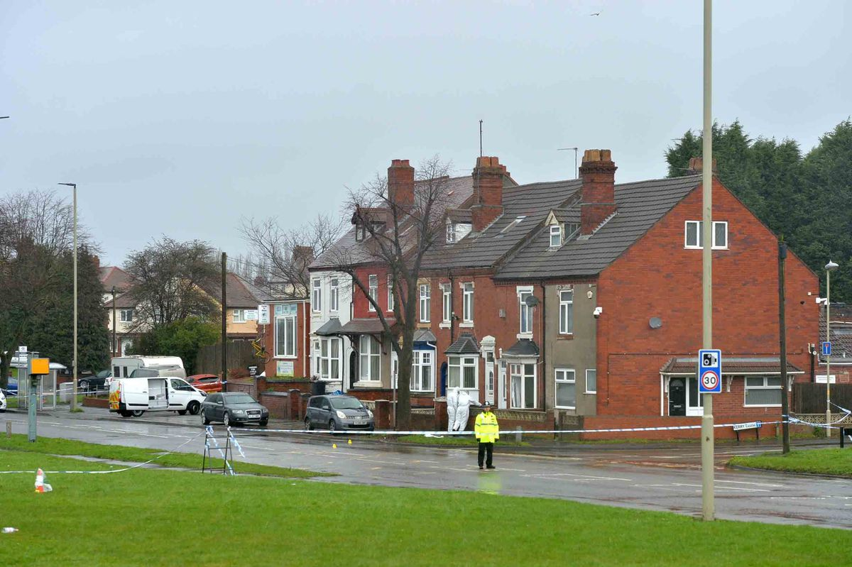 The police cordon on Pensnett Road next to Kerry Close