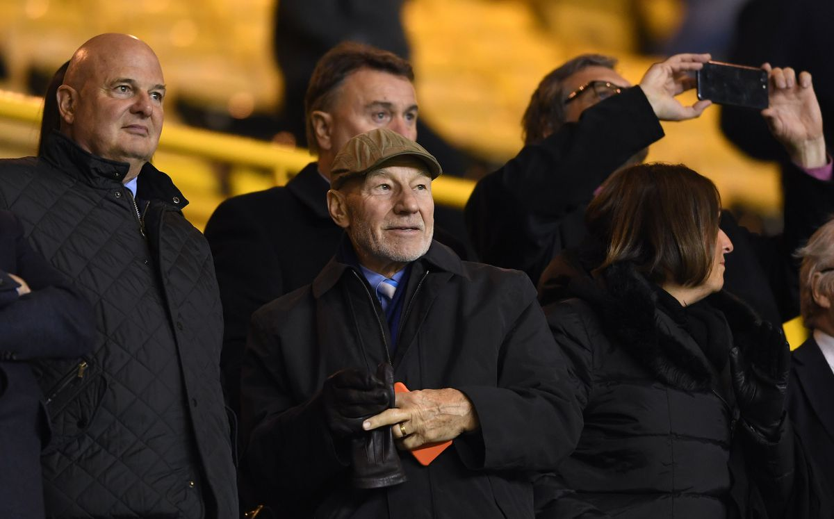 Sir Patrick Stewart OBE and Huddersfield Town fans attends the game.