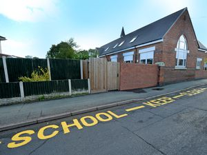 A new 'school keep clear' sign has been painted on School Road where Tettenhall Wood School used to be situated