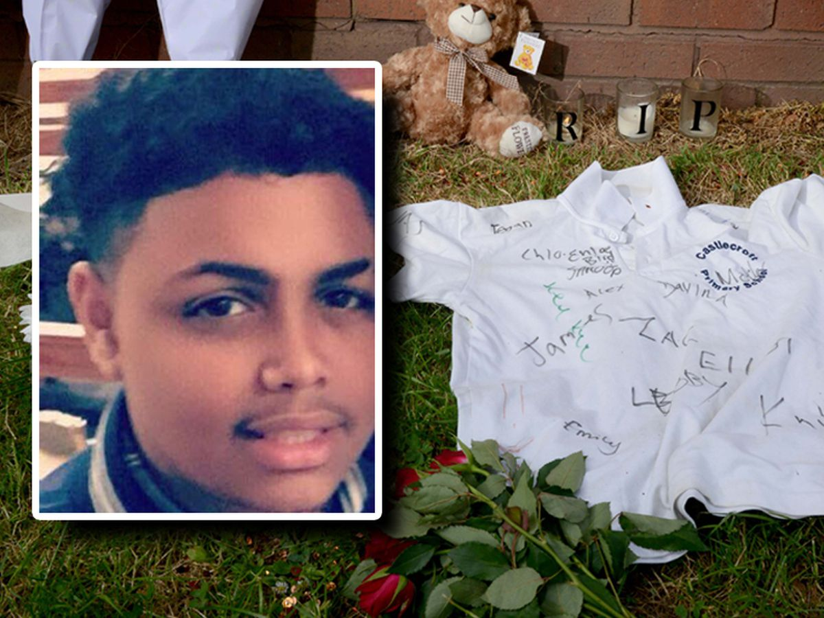 Tributes at the scene where Keelan Wilson, inset, was killed
