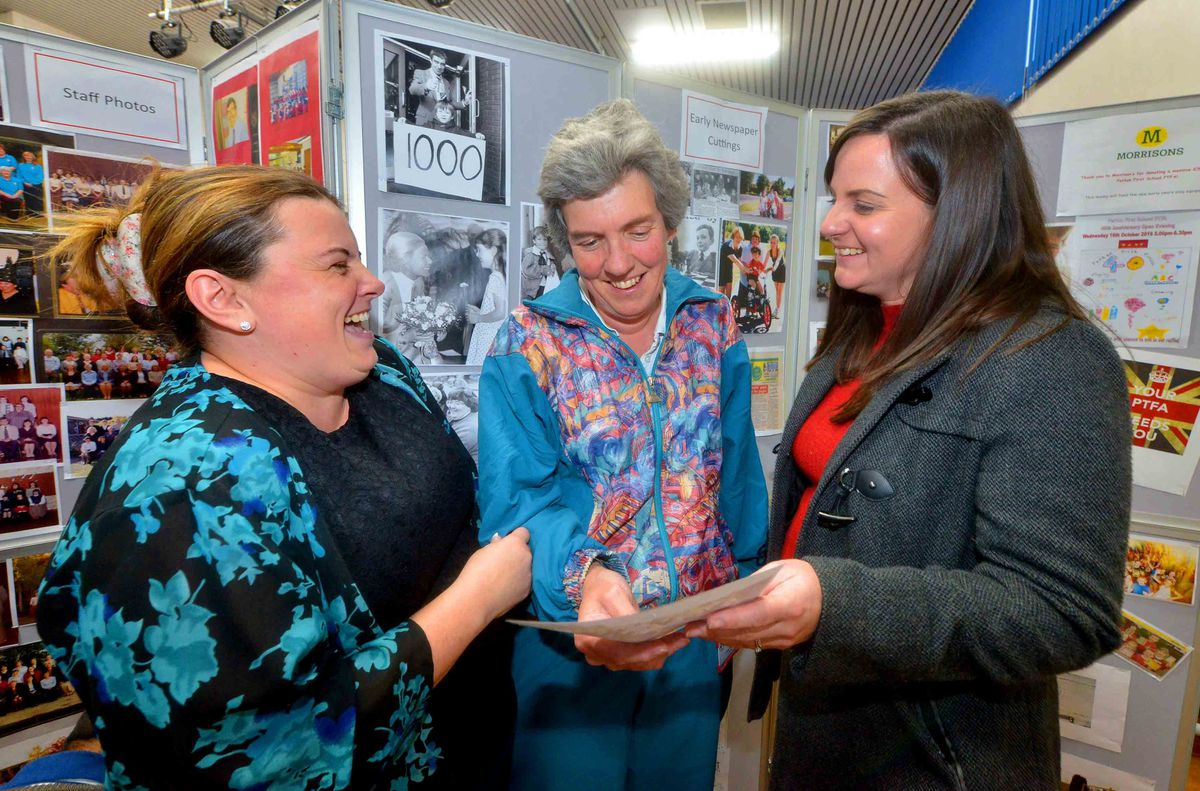 Emma Pemberton and Emily Dench (now Elkin) chat to there former PE Teacher: Chris Hopkins