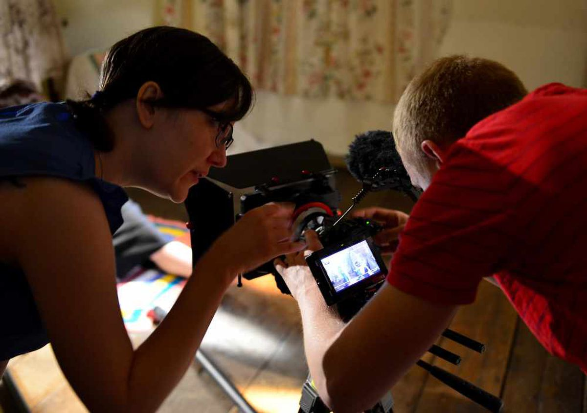 L to R: Director Rebecca Harris-Smith and director of photography Ben Thompson pictured filming