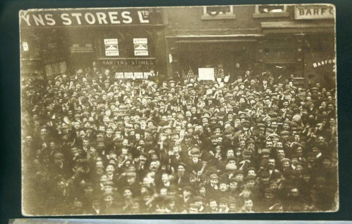 Huge hordes of football fans gathered outside the Express &Star offices in Queen Street, Wolverhampton, on the day of the FA Cup final in April, 1908. Wolves were playing Newcastle United at Crystal Palace in London, and the scores were being relayed to the newspaper by carrier pigeon. Historian William Howe says there was much jubilation when the final score – a 3-1 victory to Wolves – arrived