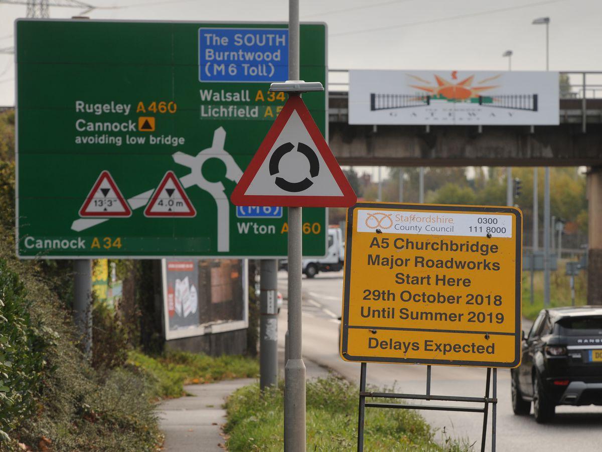 Roadworks in Churchbridge, Cannock, will be ramped up next week