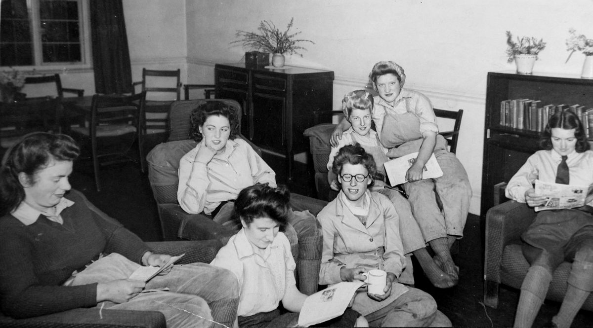 Land Army girls in their sitting room in Wombourne in April 1946