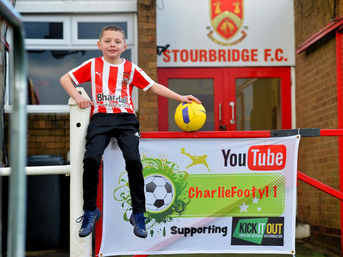 DUDLEY COPYRIGHT EXPRESS AND STAR STEVE LEATH 11/03/2020..Pic at Stourbridge FC of one of there Junior players: Charlie Moulsdale 7. He has a You Tube channel 'Charliefooty 11', and is about to embark on an epic journey visiting all the Bet Southern League Central Grounds in 24 hours, raising money for Kick It Out..