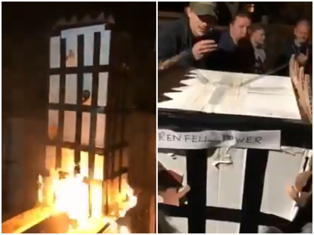 Someone burned an effigy of Grenfell Tower