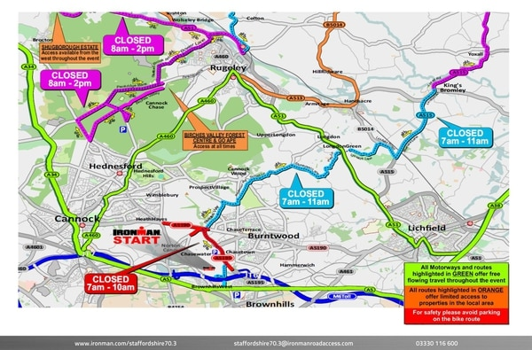 Stafford Ironman 70 3 2019: Find out the road closures this