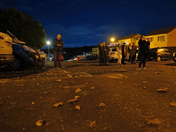 Debris on the street at the scene of an explosion at a house in Ayr