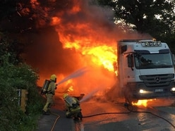 Bridgnorth road closed for a week after fire engulfs lorry - WATCH