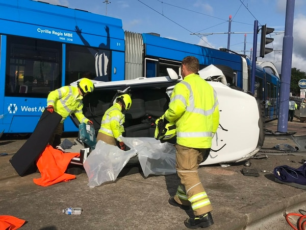 Car crashes into West Midlands Metro tram and overturns in Wolverhampton