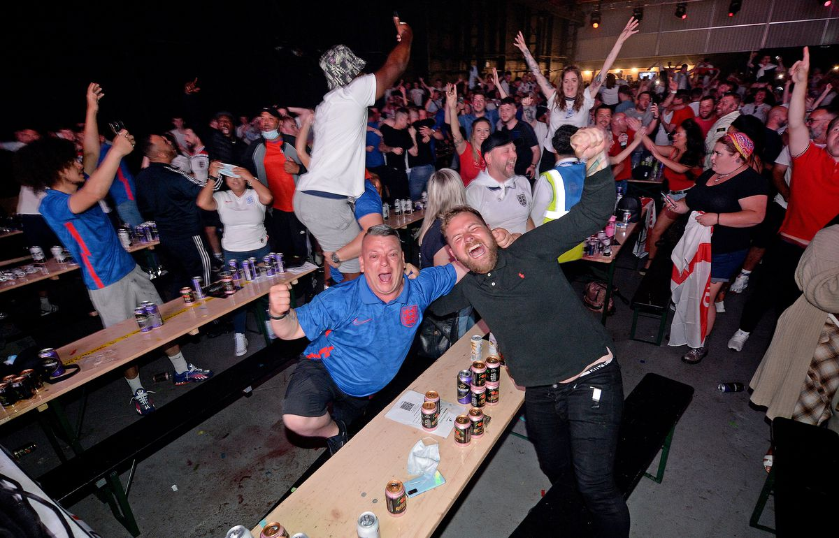 Celebrating Luke Shaw's goal at The Hangar, Wolverhampton