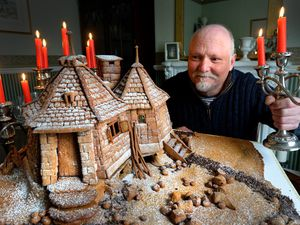 DUDLEY  COPYRIGHT TIM STURGESS EXPRESS AND STAR...... 01/04/2021   Bake Off's Terry Hartill from Stourbridge and his latest baking creation in Ginder bread, Hagrid's hut from the Harry Potter films....
