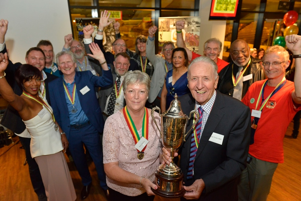 6c822d1c379 ... Harding and former world cycling champion Hugh Porter pictured with the  Roger Walter Trophy and former members as they celebrate their 50th  anniversary