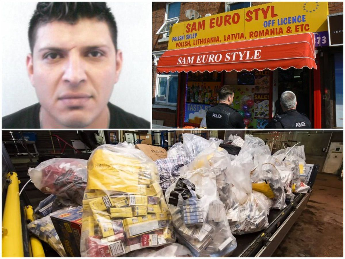 Zemnako Azad Salih, left top, was caught out by trading standards who found £200k worth of illegal and counterfeit cigarettes and tobacco, bottom, at his shop in Whitmore Reans, right top