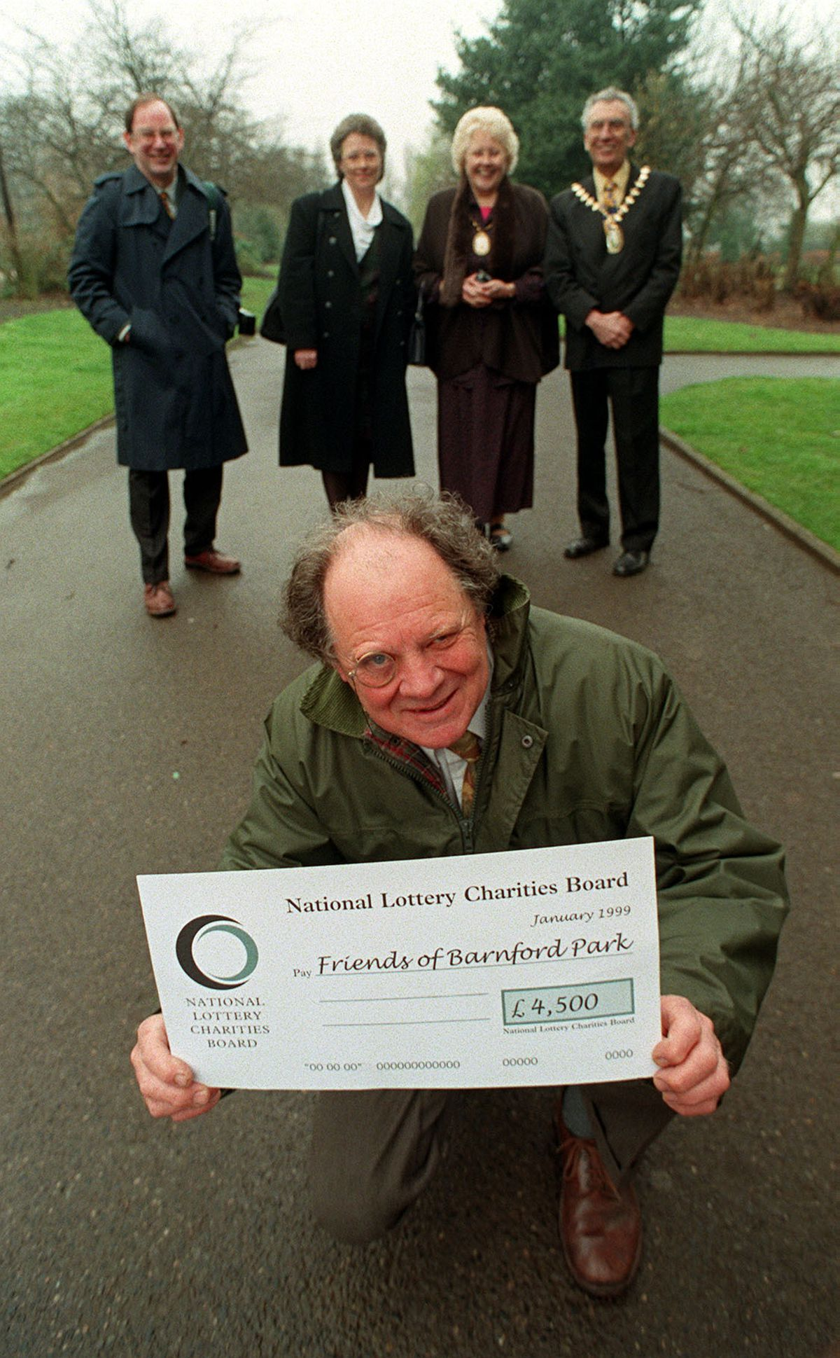 John Lloyd celebrates a lottery grant of £4,500 to refurbish Barnford Park, Oldbury