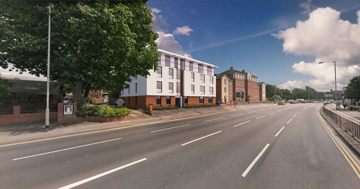 An artist's impression of the development of 24 apartments by Key Land Developments at The Foregate Building in Stafford.