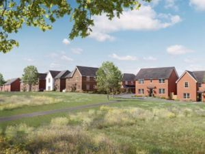 An image of what a Barratt Homes street scene could look like at the new development north of Marston Grange Stafford submitted to Stafford Borough