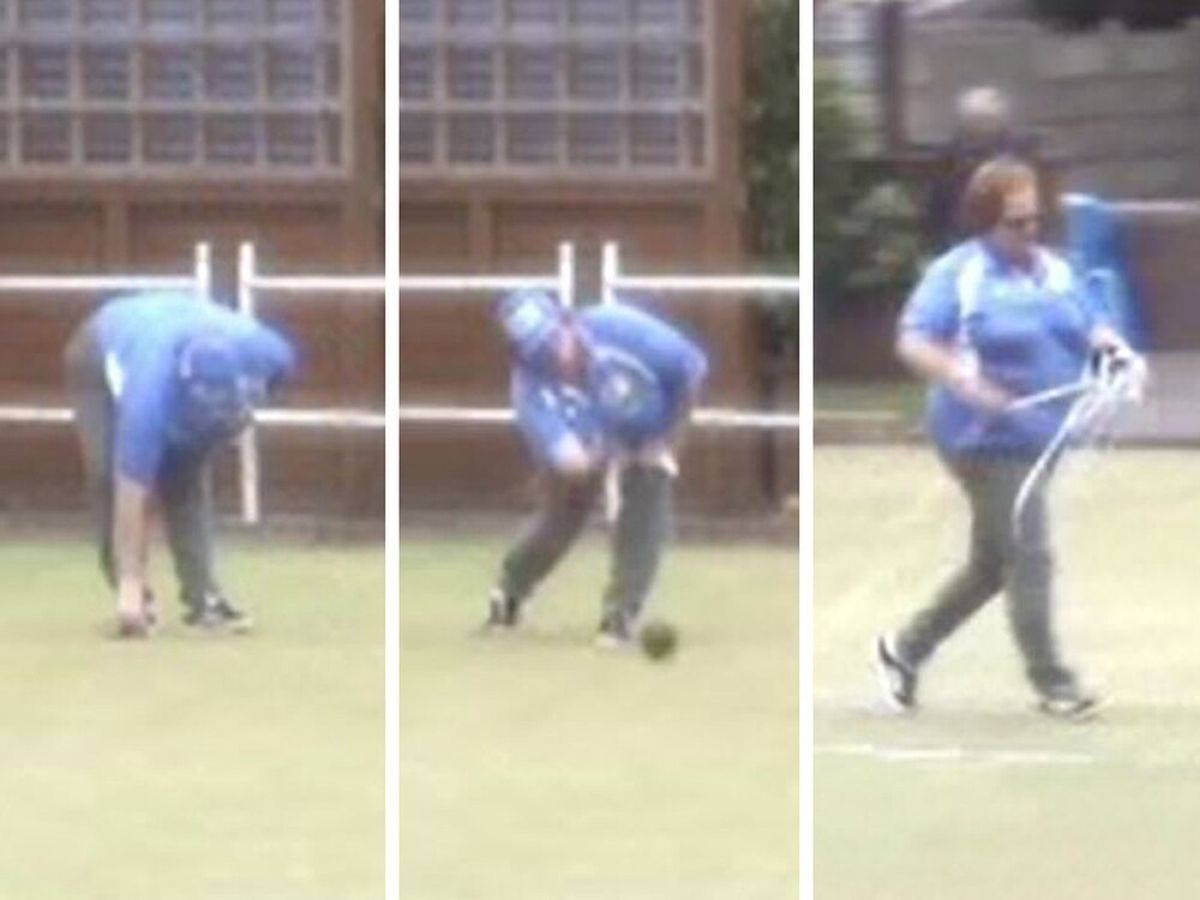 Screengrabs from footage of Rebecca Peach at Amery Unionist Bowling Club in Willenhall