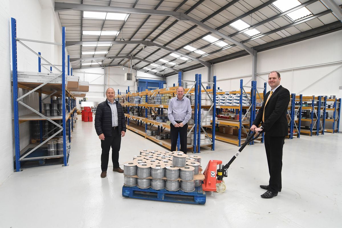 Ian Jones and Ed Featherstone, of H & S Electrical Wholesalers, are joined by Luke Dodge, of Fisher German
