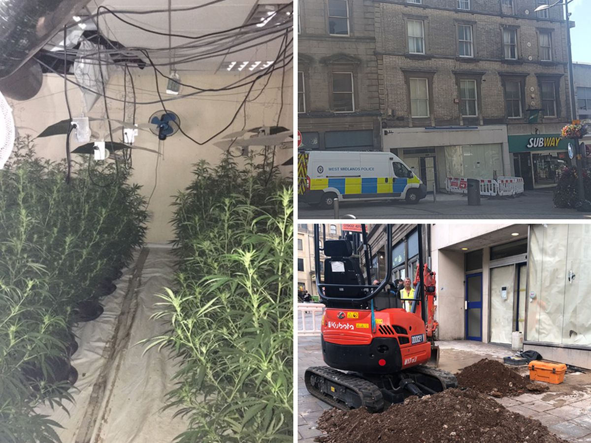 A cannabis farm, left, was found in the old Nationwide building, top right. Workers had to dig into the street to isolate the power, bottom right.
