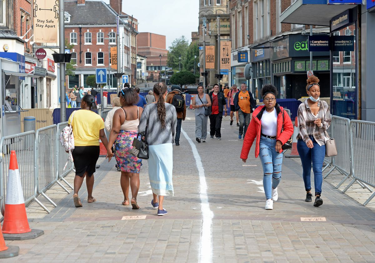 Shoppers make their way back into Wolverhampton city centre as non essential shops reopen after lockdown