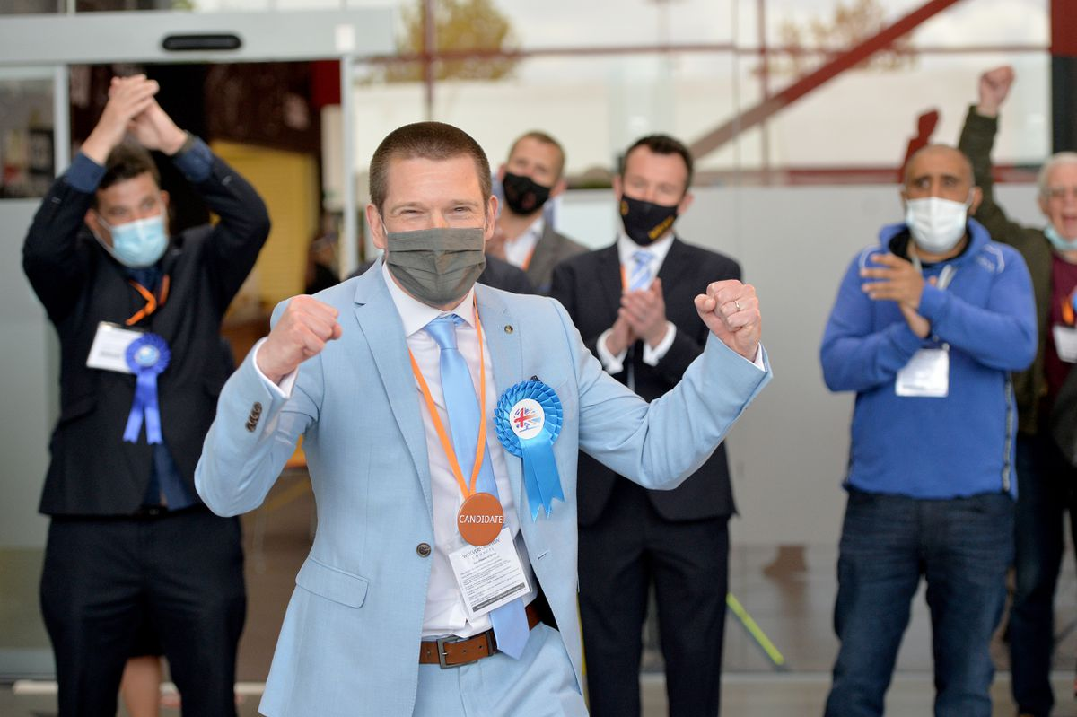 Adam Collinge received the loudest cheer of the election after he narrowly won the Oxley ward from Labour's Louise Miles, deputy leader of the council and cabinet member for resources.