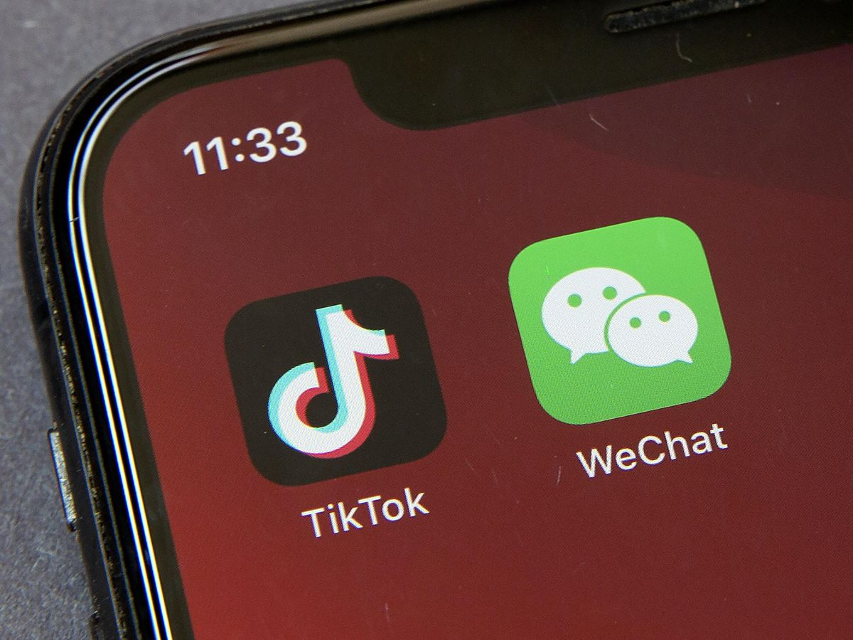 The WeChat icon on a smartphone