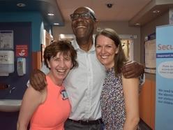 Sir Lenny Henry all smiles on Birmingham Children's Hospital visit