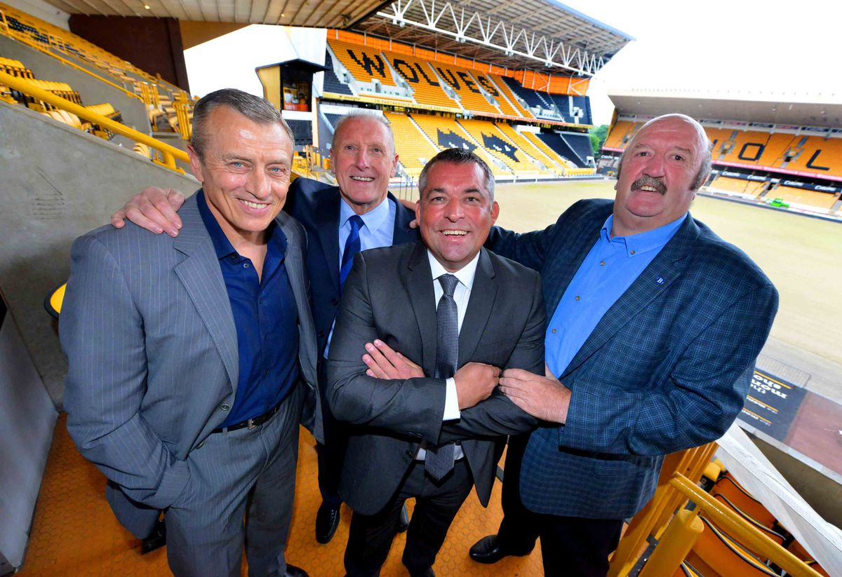 Wolves Hall of Fame inductee Andy Thompson with Tony Morley, Tony Bomber Brown and Kenny Burns at last night's Former Players' Association dinner