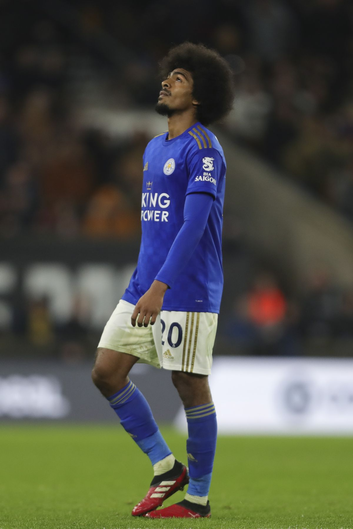 Hamza Choudhury of Leicester City' reacts after being sent off.
