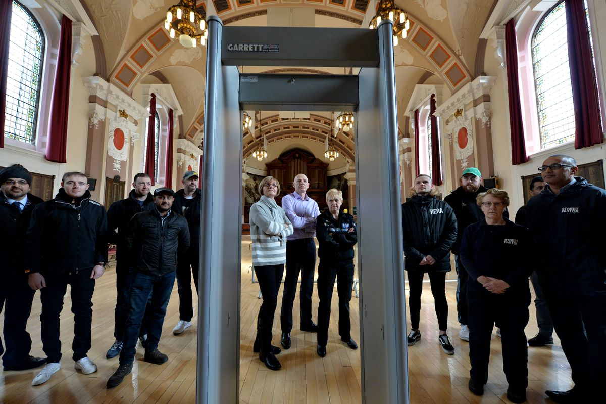 One of the knife arches used at recent boxing events at Walsall Town Hall