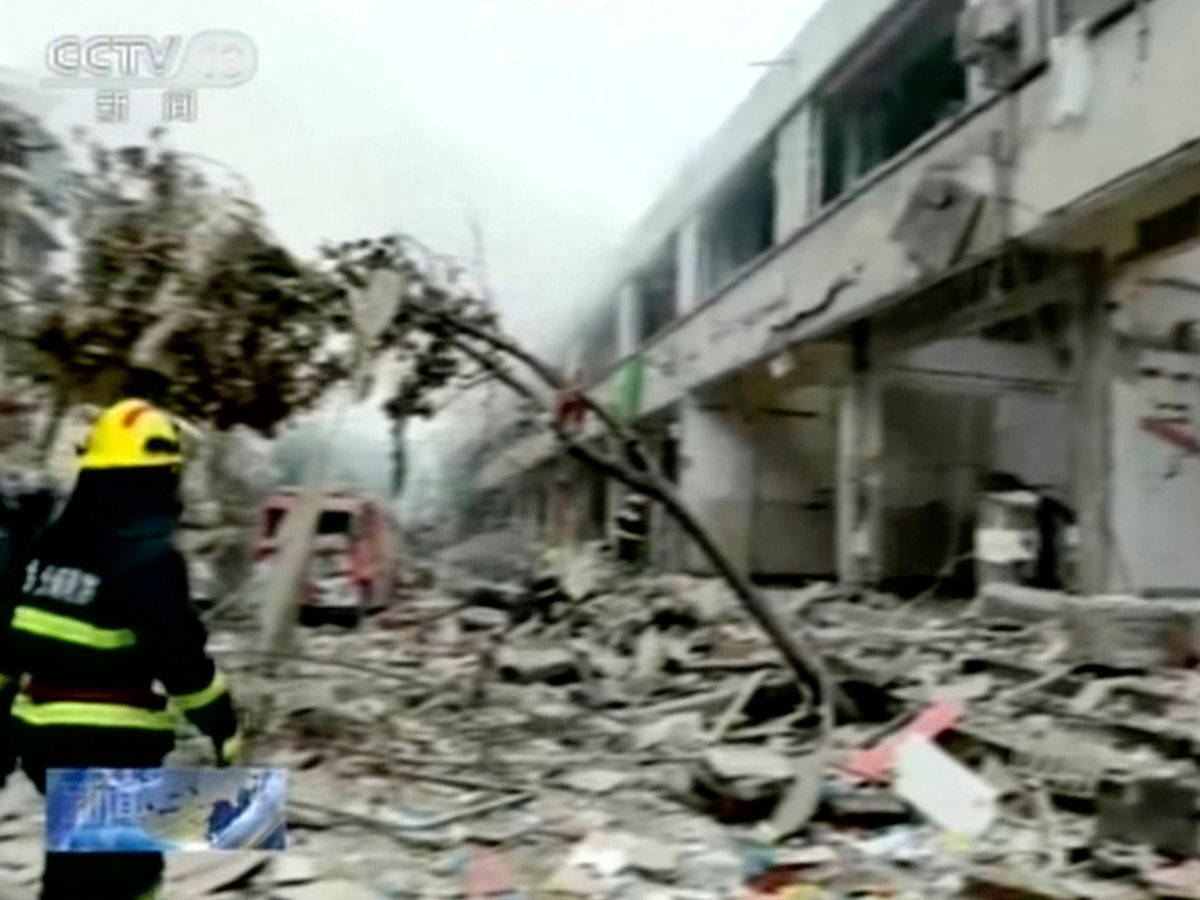 Scene of a gas explosion in Shiyan city in central China's Hubei province
