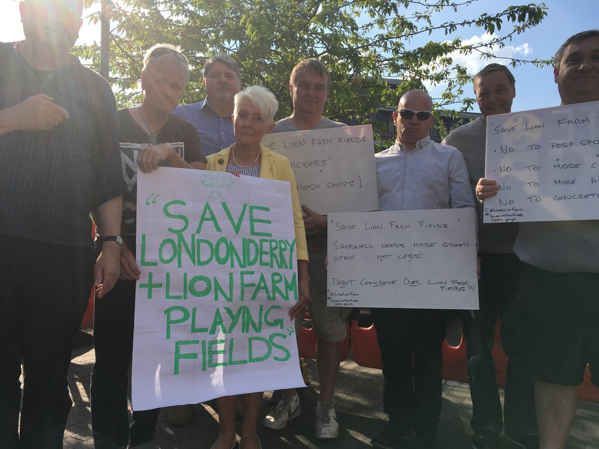 Protesters outside Sandwell Council house