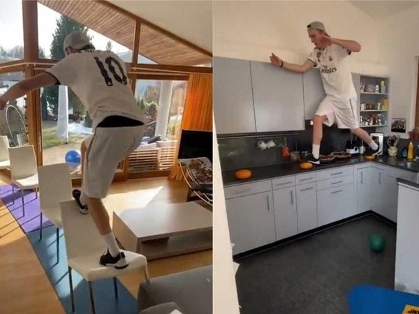 Skier builds parkour course in own home to fight self-isolation boredom