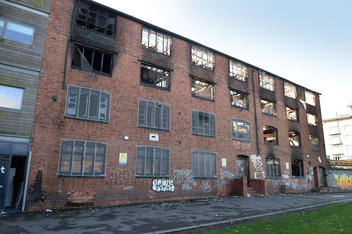 The aftermath of a major fire at the derelict William House in Walsall