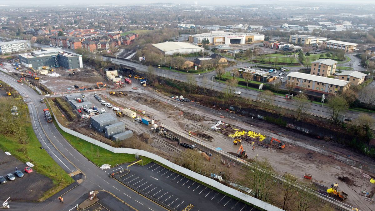 The new tramline being constructed in Castle Hill, Dudley