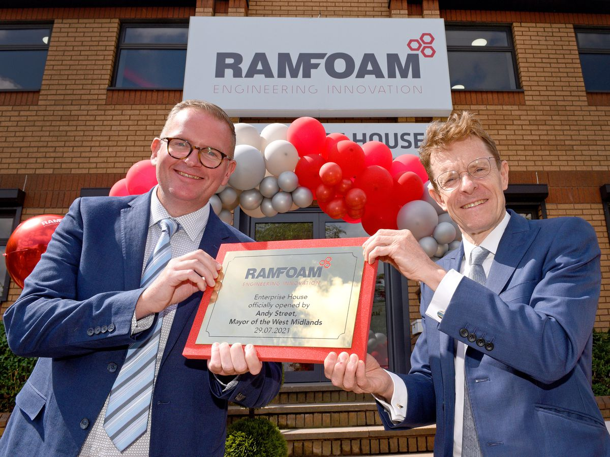 West Midlands Mayor Andy Street officially opens Ramfoam's factory in Tividale with international director Tim Mulqueen