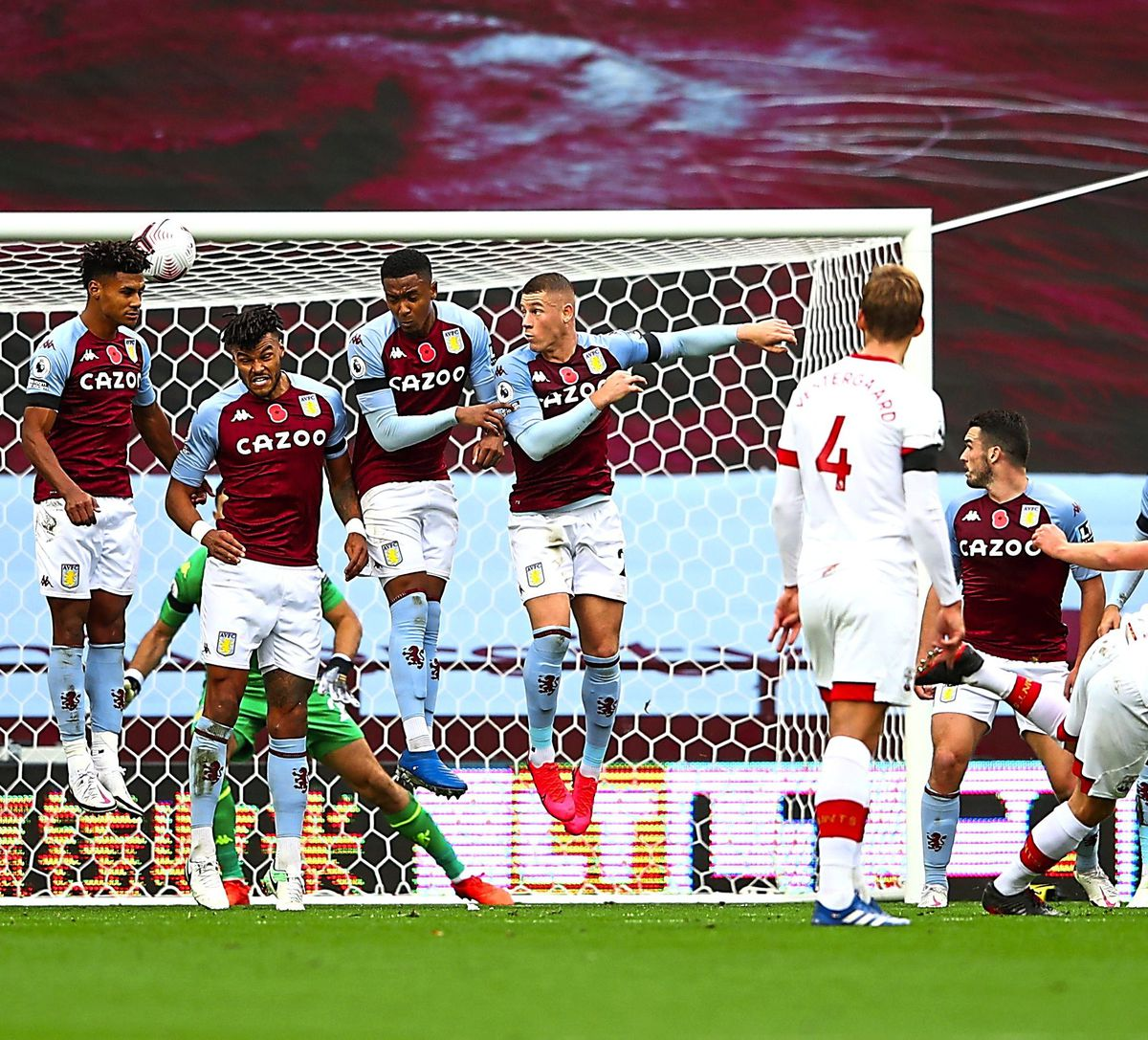 """Southampton's James Ward-Prowse (front right) scores his side's third goal of the game during the Premier League match at Villa Park, Birmingham. PA Photo. Picture date: Sunday November 1, 2020. See PA story SOCCER Villa. Photo credit should read: Michael Steele/PA Wire. RESTRICTIONS: EDITORIAL USE ONLY No use with unauthorised audio, video, data, fixture lists, club/league logos or """"live"""" services. Online in-match use limited to 120 images, no video emulation. No use in betting, games or single club/league/player publications."""