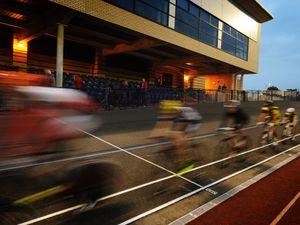 Wolverhampton Wheelers Cycling Club members, on the reopened velodrome, at Aldersley Leisure Village, Wolverhampton.