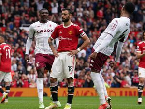 """File photo dated 25-09-2021 of Manchester United's Bruno Fernandes (centre) reacts after missing a late penalty kick during the Premier League match at Old Trafford, Manchester. Issue date: Sunday September 26, 2021. PA Photo. Bruno Fernandes said he will take future penalties """"without any fear or dread"""" after his missed spot-kick saw Manchester United lose at home to Aston Villa. See PA story SOCCER Man Utd. Photo credit should read Martin Rickett/PA Wire.."""